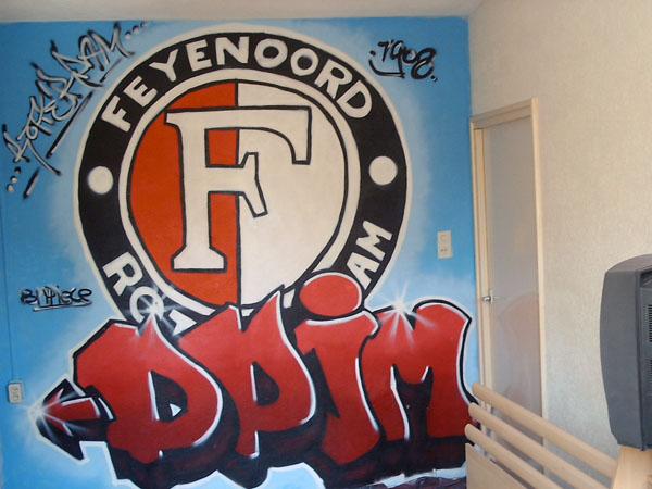 Feyenoord Kinderkamer: Graffiti muurschildering in kinderkamer en ...